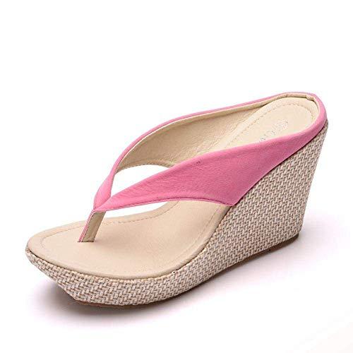 WXDP Pantuflas Calientes,Zapatillas de Ducha con Espalda Abierta, Pendiente con Chanclas, bizcocho con Zapatillas de Plataforma-Pink_36, Sandalias de Punta Abierta ggsm