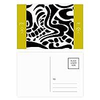 エジプトの白と黒の抽象的なトーテムのフレスコ画 友人のポストカードセットサンクスカード郵送側20個