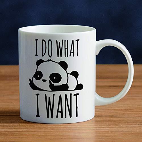 Lustige Panda Tasse, Geschenke für Frauen Männer,11oz/350ml Kaffeebecher Muttertagsgeschenk Muttertag Kaffeetasse mit Löffel Deckel Tee Cup Geschenk Vatertag für Freundin Weihnachten Geburtstag