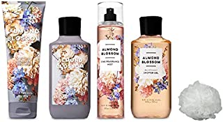 Bath and Body Works ALMOND BLOSSOM Deluxe Gift Set Lotion ~ Cream ~ Fragrance Mist ~ Shower Gel + FREE Shower Sponge Lot of 5