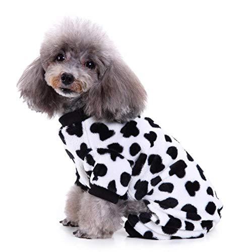 Dreameryoly 犬の牛の服愛らしいペットの衣装暖かい犬のジャンプスーツ快適な子犬のパジャマ、カバーオール...
