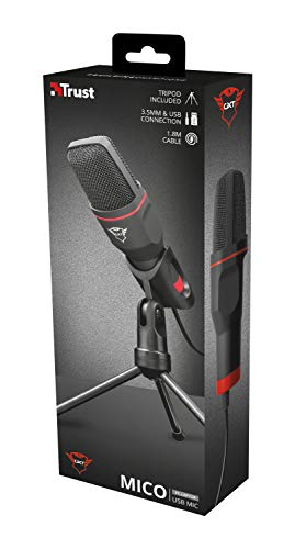 Trust Gaming GXT 212 Mico USB Mikrofon für PC, PS4 und PS5 (PC Mikrofon mit Dreibeinstativ, 3,5 mm- und USB-Anschluss, 1,80 m Kabel) schwarz