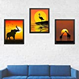 African Wildlife Safari Sunsets- 3 Image Set- 8 x 10's- Prints Wall Art- Ready to Frame. Beautiful Photo Wall Decor for Home-Office-Nursery. Elephant, Giraffes & Flamingo in Sunset Pose. Great Gift!