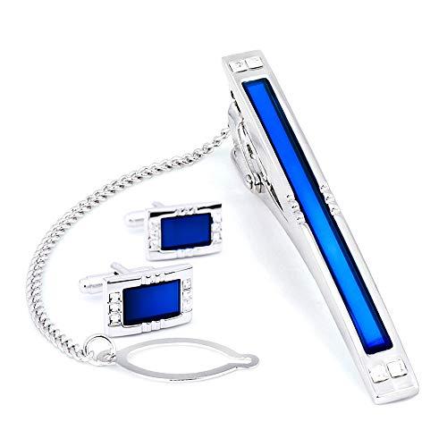Juego de gemelos y clip de corbata con espejo azul BagTu con caja de regalo y tarjeta de felicitación, gemelos de cristal azul rectangular y juego de regalo con clip para corbata para hombres