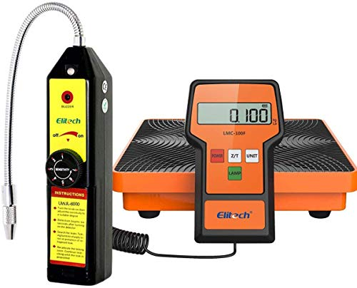 Elitech WJL-6000 Refrigerant Leak Detector Freon Leak Detector + LMC-100F Refrigerant Charging Scale HVAC AC R134awith Carrying Case 110lbs