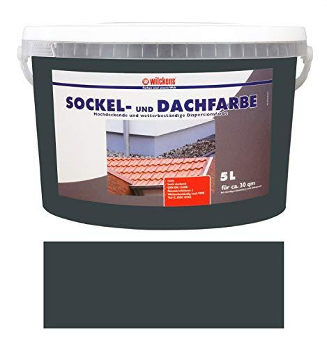 Wilckens 5 L. Sockel- & Dachfarbe, Anthrazit Matt, hochdeckende, wetterbeständige Dispersionsfarbe, wasserverdünnbar