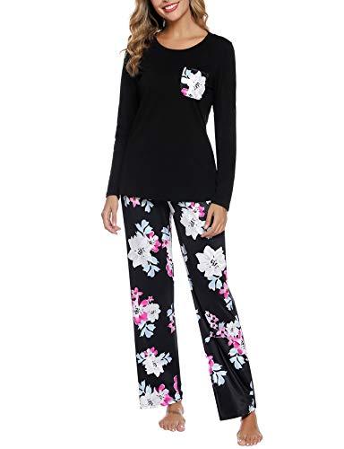 Aibrou Conjunto de Pijamas Mujer, Pijamas Mujer Ropa de Casa para Manga Larga Cuello Redondo Camiseta y Pantalones de Impresión Suelto Cómodo Adecuado para Hogar Casual