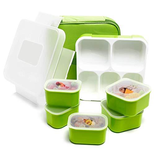 Fun Life Bento Box, Kinder Lunch Box Brotdose mit 5 Fächern, BPA-frei, auslaufsicherer Behälter Deckel für Schule, Picknick, Ausflug (Grün)