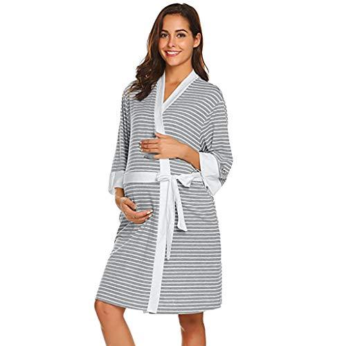 LHWY Premamá Invierno Leggins Abrigos Bata De Maternidad Raya Bata Entrega Camisones Hospital Bata De Lactancia Materna