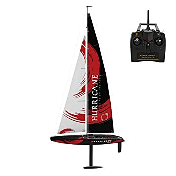 XIAOKEKE 2.4G RC Simulation Sailboat 4CH Remote Control Boat Compass Pre-Assembled Sailboat DIY Wireless Toy Adults Christmas Birthday Gift Toy