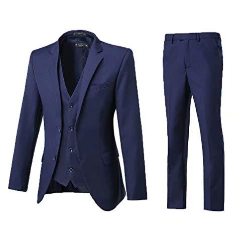 High-End Suits 3 Pieces Men Suit Set Slim Fit Groomsmen/Prom Suit for Men Two Buttons Business Casual Suit, Navy, Chest38