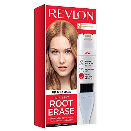 Revlon Root Erase Permanent Hair Color, At-Home Root Touchup Hair Dye with Applicator Brush for Multiple Use, 100% Gray Coverage, Dark Blonde (7), 3.2 oz
