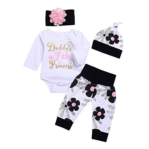 Blaward Neugeborenes Baby 4-teilig Daddy Little Princess Strampler Kleidung Blumenhose Set mit Stirnband und Hut 0-24Monate