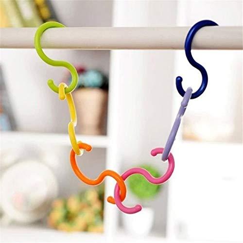 LANKOULI 6 unids/lote S forma ganchos multiusos venta cochecito de bebé gancho percha ropa plástico gancho uso hogar cierre rack