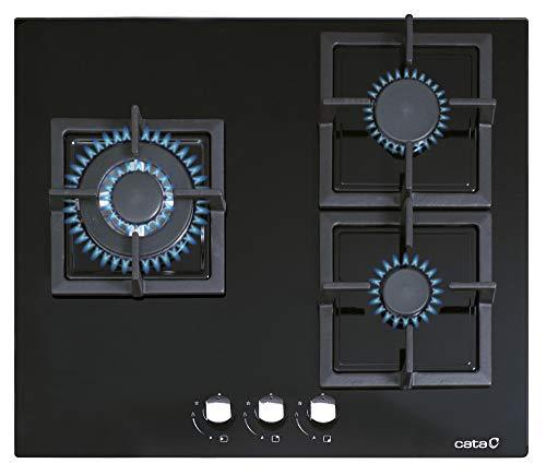 Cata | Placa Cristal Gas | Modelo CCI 6021 BK | 3 Quemadores de gas | Encimera de Gas Natural | Inyectores de gas Butano Incluido | Ancho de 59 cm | Color Negro