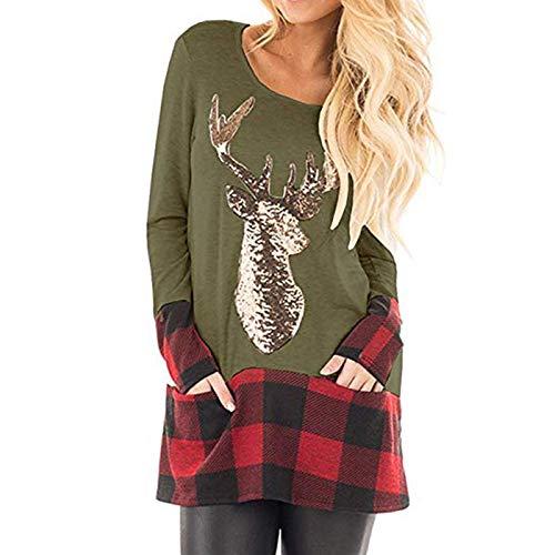 Sudadera de manga larga con estampado de renos para mujer de WAOTIER Verde militar. XXL