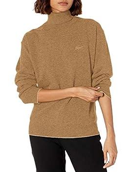 Lacoste Women s Long Sleeve Wool Turtleneck Sweater Heather Viennois 10