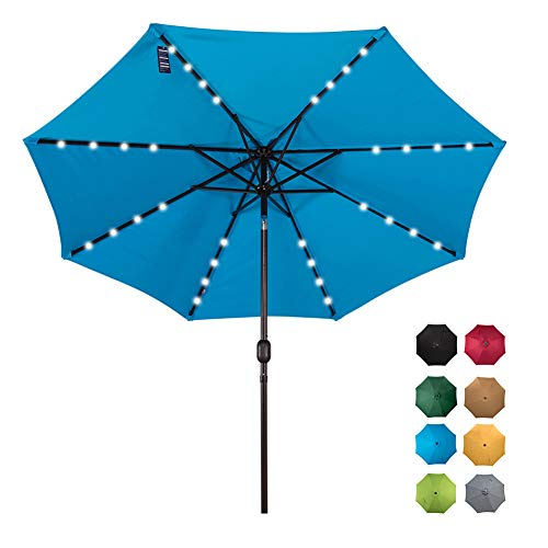Sundale Outdoor Solar Powered 32 LED Lighted Patio Umbrella Table Market Umbrella with Crank and Push Button Tilt for Garden, Deck, Backyard, Pool, 8 Steel Ribs, 9 Feet, Blue