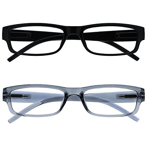 occhiali da lettura 1 50 The Reading Glasses Company Nero E Grigio Leggero Comodo Lettori Valore 2 Pacco Uomo Donna Rr32-17 +1