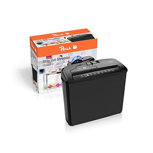 Peach PS400-11 Streifenschnitt Aktenvernichter | 5 Blatt | 7 Liter | 6 mm Streifenbreite | schreddert Papier, CDs und Kreditkarten | großer Blatteinzug