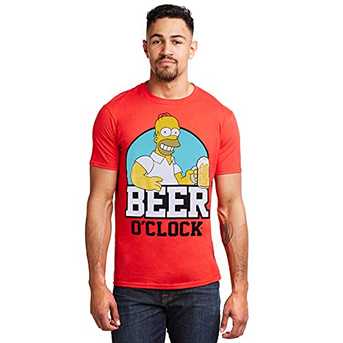 The Simpsons Beer O Clock Camiseta, Rojo (Red Red), L para Hombre