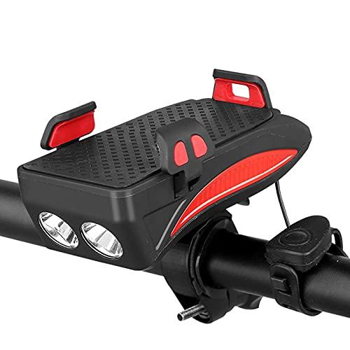 Luces de Bicicleta, 4 en 1 Luz de Bicicleta USB Impermeable Recargable con Soporte telefónico, Bicicleta Bell y Potencia móvil para Hombres Mujeres Niños Carretera Ciclismo,Rojo