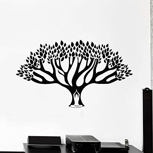 Tatuajes de pared árbol lotus pose estudio de yoga sala de meditación decoración de interiores puertas y ventanas pegatinas de vinilo arte mural