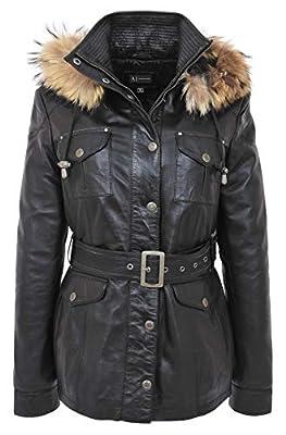A1 FASHION GOODS Ladies Black Leather Duffle Coat Belted Hip Length Removable Hood Parka Jacket Sarah (Large)