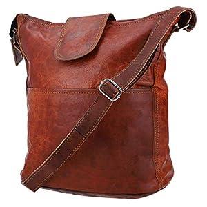 41emKn98AFL. SS300  - Gusti Leder - Bolso Bandolera de Piel para Mujer, Color marrón