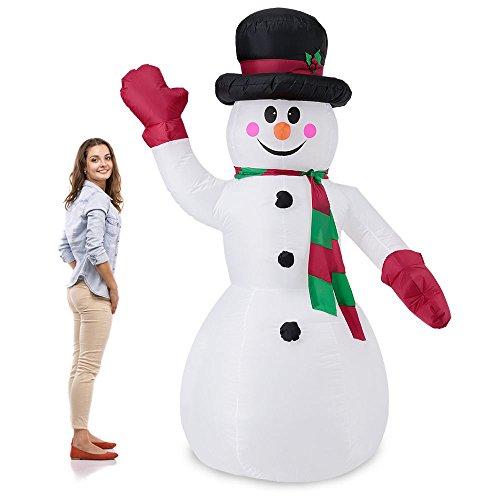 LD Weihnachten Deko Riesiger Schneemann 240cm LED Beleuchtet Weihnachten Deko Lebensgroß Aufblasbar