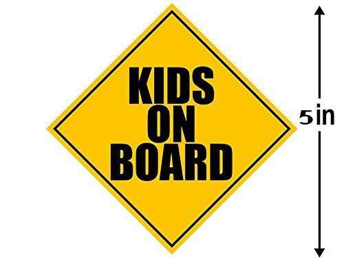 American Vinyl KIDS ON BOARD Caution Sign Shaped Sticker (child children safe safety)