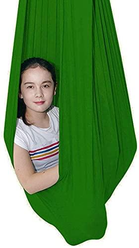 Kcanamgal Hamaca Columpio Niño,Columpio Interior Elástico Abrazar Hamaca Swing sensorial, Ideal para TDAH,Verde,150x280cm