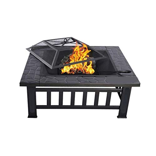 JIACTOP Outdoor Fire Pits 32in Outdoor Fire Pit Metal Square Firepit Wood Burning Backyard Patio Garden Beaches Camping Picnic Bonfire Stove with Spark Screen,and Cover