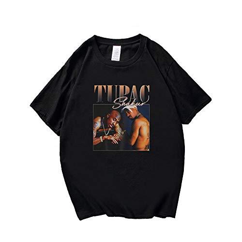 Herren schwarz T-Shirt Hip Hop Rapper 2pac Print Streetwear Sommer lässig Sweatshirt Kurzarm Pullover Bluse Tops