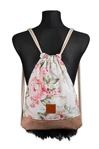 Manufaktur13 Floral Wood II Sports Bag - Rucksack Gym Bag mit Blumen/Flower Print, Turnbeutel Sportbeutel Tasche M13