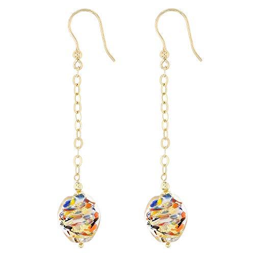 Venetiaurum - Pendientes largos de 7 cm para mujer con perlas de cristal original de Murano y plata 925 - Made in Italy certificado