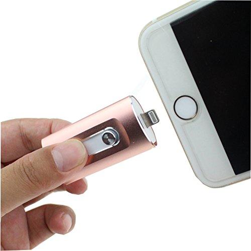 Escomdp USB Flash Drive per Smart Phone 5 6 7 Plus Chiavetta USB PenDrive Memory Stick, Telefono Cellulare Android Computer (64GB, Rosa)
