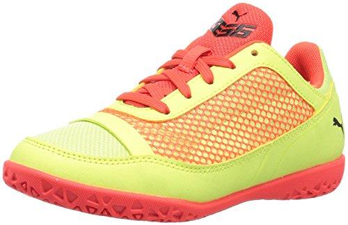 PUMA Kids' 365 Netfit Technology Court Futsal-Shoes, Fizzy Yellow-red Blast Black, 12.5 M US Little Kid