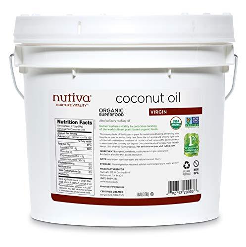Nutiva Organic Cold-Pressed Virgin Coconut Oil, 1 Gallon   USDA Organic, Non-GMO, Fair Trade   Vegan, Keto, Paleo   Fresh Coconut Flavor and Aroma for Cooking & Healthy Skin and Hair