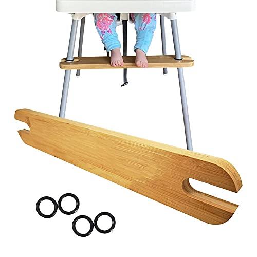 Richolyn Reposapiés para Trona De IKEA Ajustable, Reposapiés para Trona, Reposapiés De Madera De Bambú Natural Antideslizante Ajustable para Bebé Reposapiés para Trona con Anillos De Goma