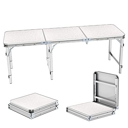 Campingtisch Klapptisch 1,8m Stühlen Tragbare Einstellbare Höhe Picknick Esstisch Barbecue Gartentisch Falttisch mit Koffergriff Drinnen und Drauße