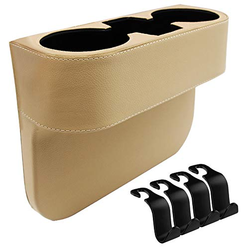 IYOYI Upgraded Leather Car Seat Organizer Front Seat Gap Filler Console Side Sundries Drinks Car Storage Organizer Box 4pcs Car Headrest Hooks for Phone Wallet Key Card Cup