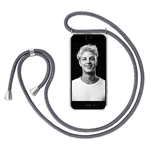 ZhinkArts Handykette kompatibel mit Apple iPhone 6 / 6S - Smartphone Necklace Hülle mit Band - Handyhülle Case mit Kette zum umhängen in Dunkelgrau