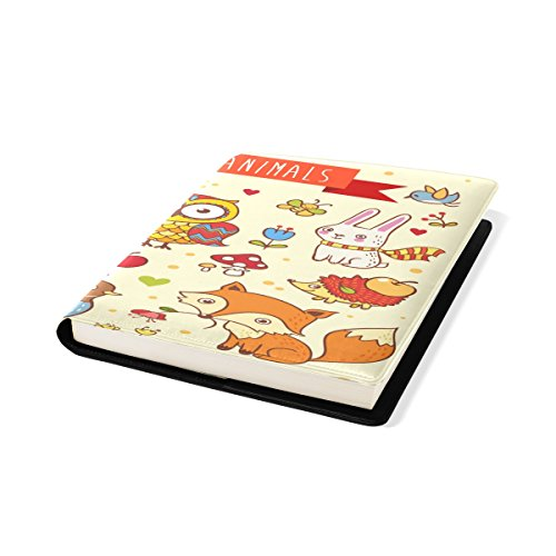 COOSUN Wild Animals In The Forest Book Sox Stretchable Book Cover, Past op de meeste Hardcover leerboeken tot 9 x 11. Lijm-vrij, Pu lederen schoolboek beschermer