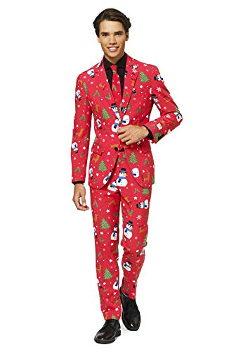 OppoSuits Fun Ugly Christmas for Men – The Rudolph – Full Suit: Jacket, Pants & Tie Costume pour Homme, Christmaster, 44