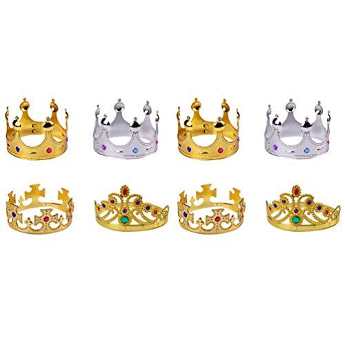 VALICLUD 8pcs corona per bambini corona placcata in plastica corona decorata festa prop per compleanno (corona croce dorata + corona regina dorata + corona re dorata + corona re d'argento)