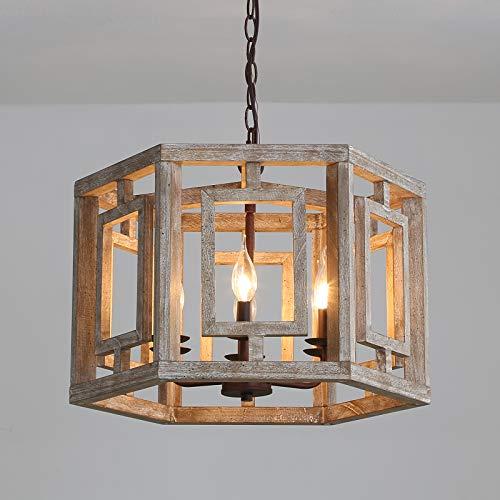 LLCEW Vintage 6-Light Wood Chandelier Rustic Pendant Light, Farmhouse Dining Room Wooden Chandeliers Hanging Ceiling Light Fixture for Bedroom Kitchen Island Livingroom Foyer