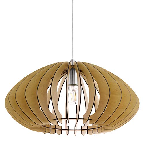 EGLO Lámpara colgante Cossano 2, 1 foco, lámpara de techo vintage, lámpara colgante de acero y madera en níquel mate, arce, lámpara de comedor, lámpara colgante con casquillo E27, diámetro 50 cm