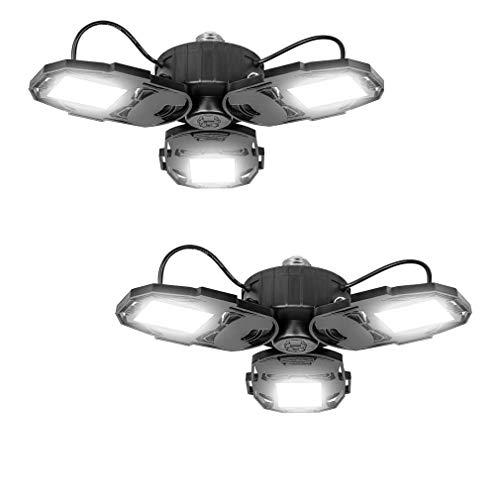 2 Pack LED Garage Lights, 80W Deformable LED Garage Ceiling Lights with 3 Adjustable Wings, 8000LM, E26 LED Shop Light, Barn Light, Ceiling Lighting Fixture for Warehouse (No Motion Detection)