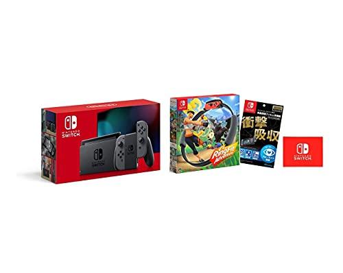 Nintendo Switch 本体 (ニンテンドースイッチ) Joy-Con(L)/(R) グレー+【任天堂ライセンス商品】Nintendo Switch専用液晶保護フィルム 多機能+リングフィット アドベンチャー (【Amazon.co.jp限定】Nintendo Switch ロゴデザイン マイクロファイバークロス 同梱)